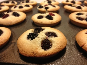 "(Hand-foraged) Blackberry Financiers. They're ""rich."" Get it?"