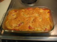 My friend came over to help with drying, and we ended up making an apricot cobbler. This is not a picture of my cobbler, but it looked just about identical...