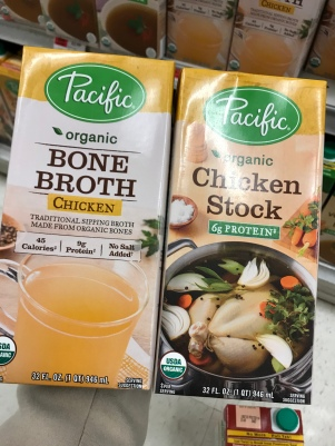 Pacific Bone Broth and Chicken Stock. Both 1qt.