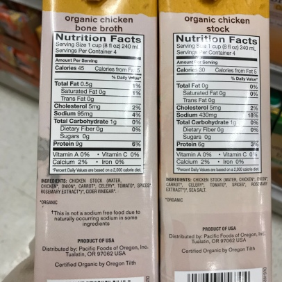 "Note the list of ingredients both start with ""chicken stock."" Also note the differences in sodium and protein."
